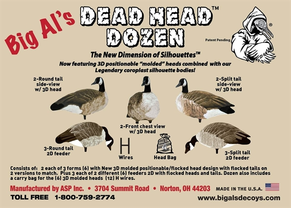 Prairiewind Decoys Dead Head Dimensional Silhouette